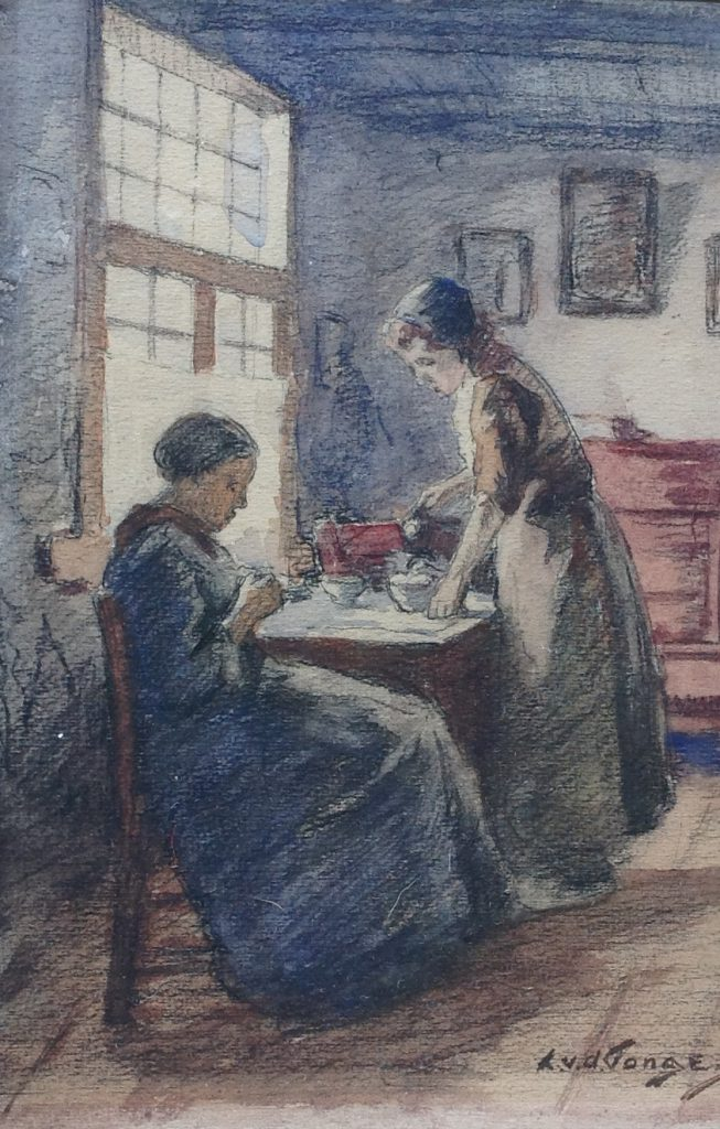 Kunstenaar L.L. van der Tonge B9256, L.L. van der Tonge olie op papier, 21,5 cm x 14,5 cm r.o. gesigneerd