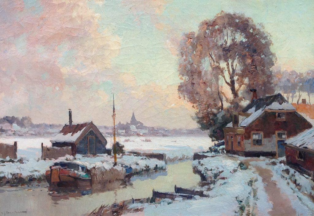 Kunstenaar G. J. Delfgaauw B9377, G.J. Delfgaauw Winters landschap olie op doek, 35,5 x 50,5 cm l.o. gesigneerd verkocht