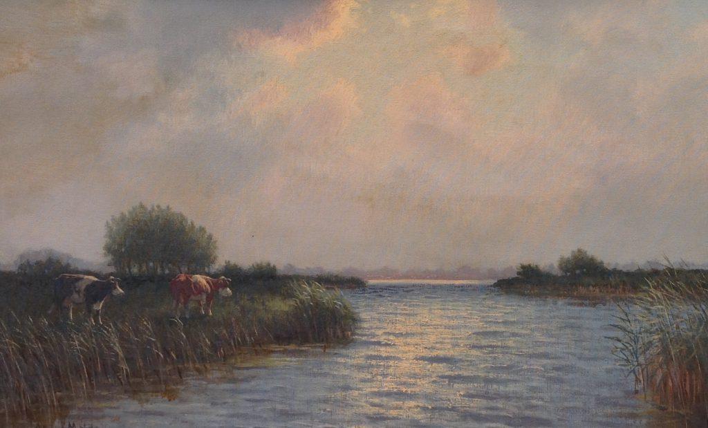 Schilderijen te koop van kunstschilder J.L. van de Meide Landschap met koeien Olie op doek, doekmaat 60 x 90 cm linksonder gesigneerd, Expositie Galerie Wijdemeren Breukeleveen