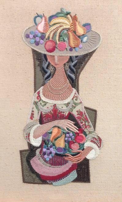 Kunstenaar Gerda Blankenheym B9387, Gerda Blankenheym Dame met fruit Borduurwerk, 104 x 64 cm