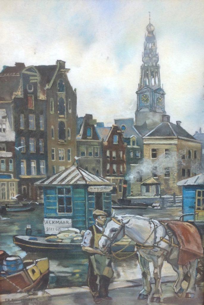 Kunstenaar F.H. Nieuwenhuizen B9390, F.H. Nieuwenhuizen 'Amsterdam', pastel l.o. gesigneerd en gedateerd 1964