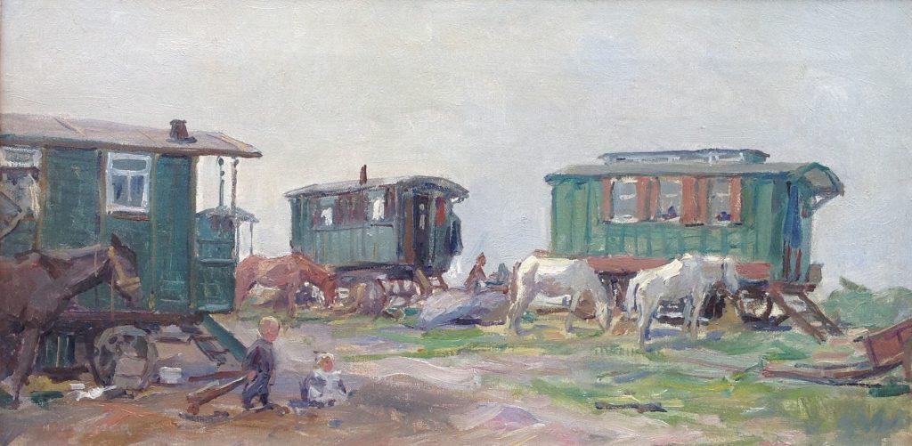 Schilderijen te koop, kunstschilder H.J. Wolter woonwagenkamp opgeslagen olie op doek, l.o. gesigneerd, expositie Galerie Wijdemeren Breukeleveen