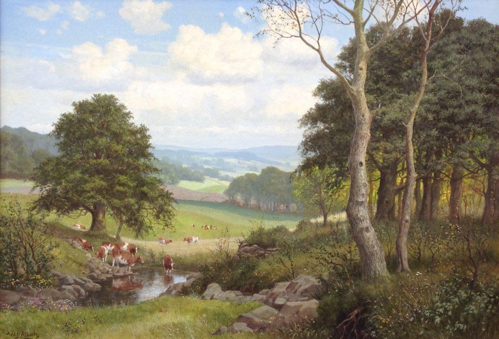 Kunstenaar Willem Jacobus Alberts B9398, W.J. Alberts koeien in landschap in Sauerland olie op doek, 70 x 100 cm l.o. gesigneerd verkocht