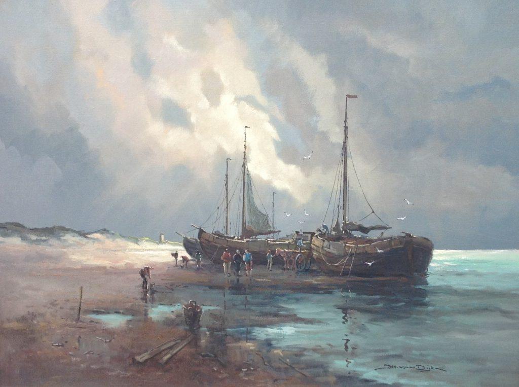 Schilderijen te koop van kunstschilder Jos van Dijk bomschuiten olieverf op doek, doekmaat 60 x 80 cm rechtsonder gesigneerd, Expositie Galerie Wijdemeren Breukeleveen