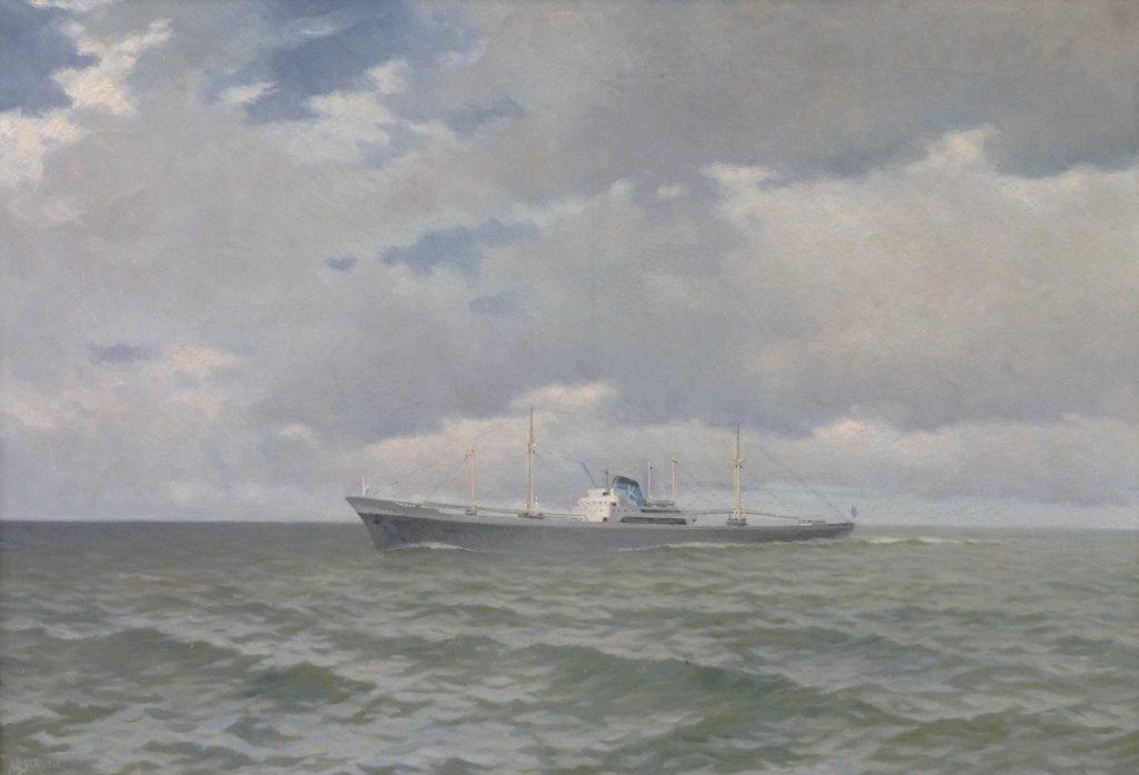 Kunstenaar A.P. Schotel B9400 AP Schotel Schip op zee olie op doek, 131 x 91 cm l.o. gesigneerd