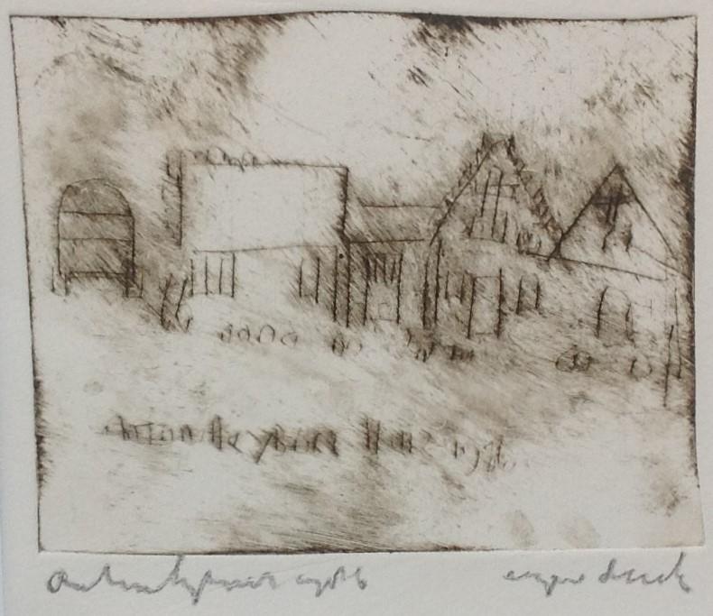 Kunst te koop bij galerie Wijdemeren van kunstschilder Anton Heyboer Dorpsgezicht ets, beeldmaat 24 x 26 cm linksonder handgesigneerd, eigen druk
