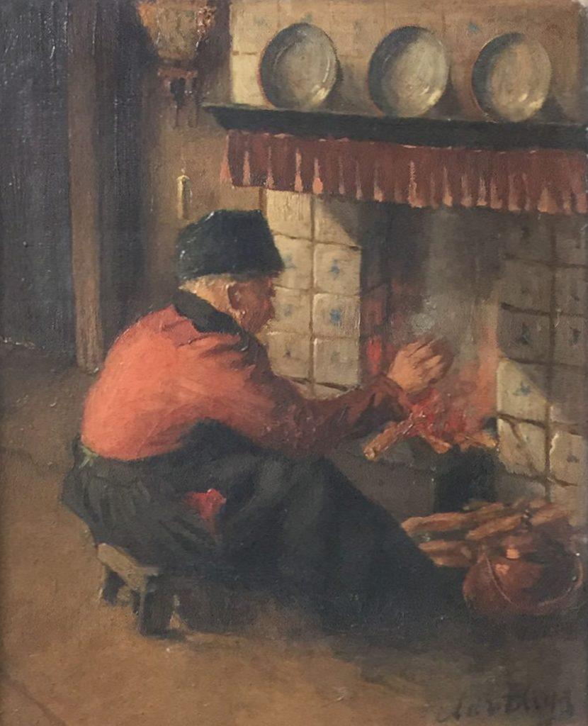 Kunstenaar Adri Bleijs B9482 Adi Bleijs man bij de haard olie op doek, 31 x 25 cm rechtsonder gesigneerd