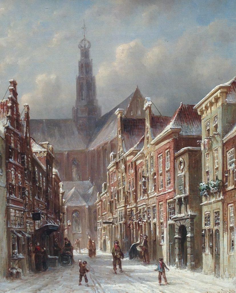 Kunstenaar Petrus Gerardus Vertin B9502 P.G. Vertin Gezicht op de Sint-Bavokerk te Haarlem olie op doek, 44 x 35 cm. r.o. gesigneerd verkocht