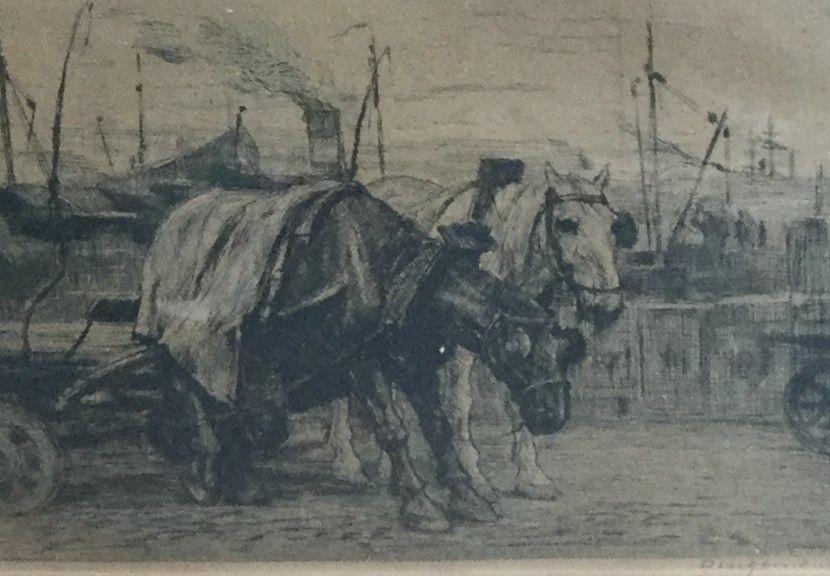 Schilderijen te koop, kunstschilder W.J. Dingemans paarden voor de wagen ets, beeldmaat 10 x 14.5 cm rechtsonder handgesigneerd, in de ets gedateerd, expositie Galerie Wijdemeren Breukeleveen