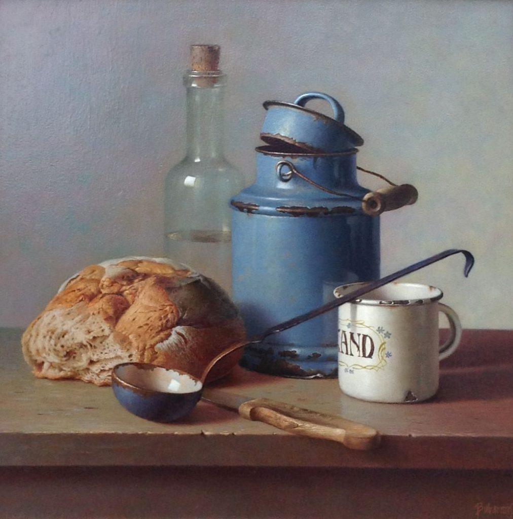 Schilderijen te koop van kunstschilder Gyula Bubarnik Stilleven met brood olie op paneel, paneelmaat 40 x 40 cm rechtsonder gesigneerd, Expositie Galerie Wijdemeren Breukeleveen