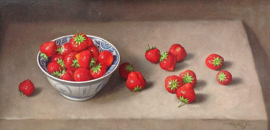 schilderijen te koop van kunstschilder, Walter Elst Stilleven met aardbeien Olie op paneel, paneelmaat 23 cm x 47 cm Rechtsonder gesigneerd, expositie, galerie wijdemeren breukeleveen
