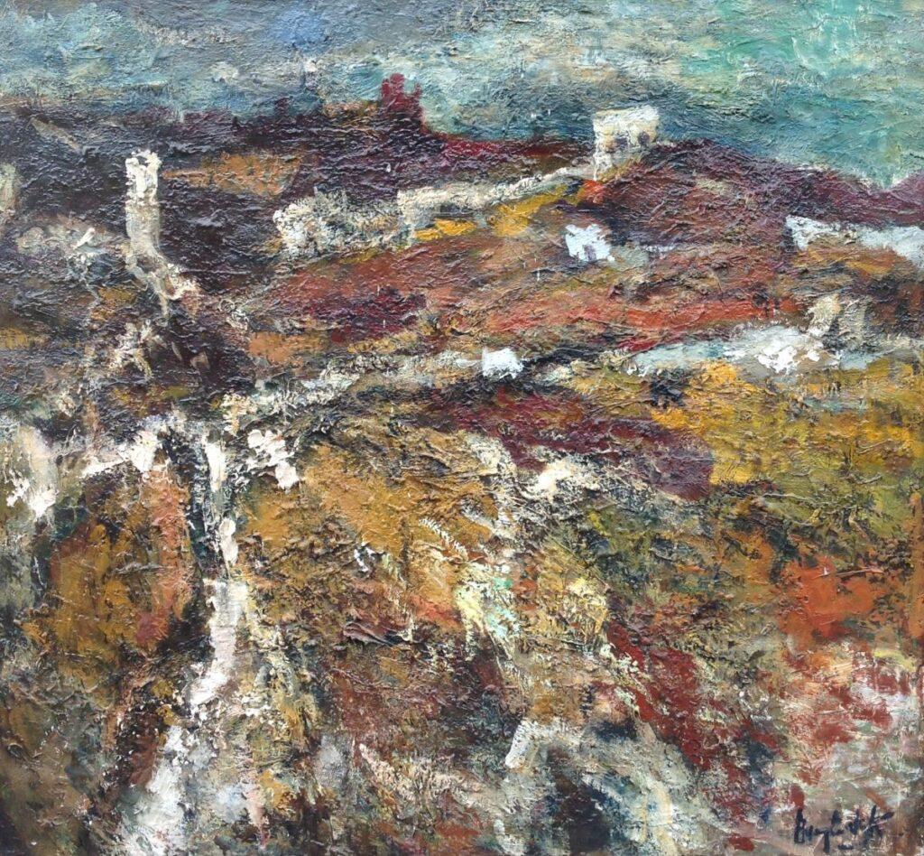 Schilderijen te koop van kunstschilder Anton Buytendijk 'Toledo' olie op doek, doekmaat 107 cm x 116 cm rechtsonder gesigneerd, Expositie Galerie Wijdemeren Breukeleveen