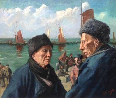 Schilderijen te koop van kunstschilder Adri Bleys Volendamse Vissers Olie op doek, doekmaat 69 cm x 81 cm linksonder gesigneerd, Expositie Galerie Wijdemeren Breukeleveen