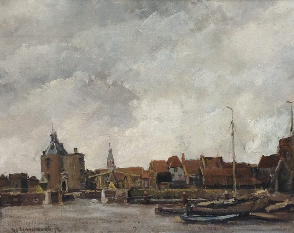 Kunstenaar Hendrik Cornelis Kranenburg B9643, H.C. Kranenburg zicht op Medemblik Olie op doek, 40 x 50 cm lo gesigneerd