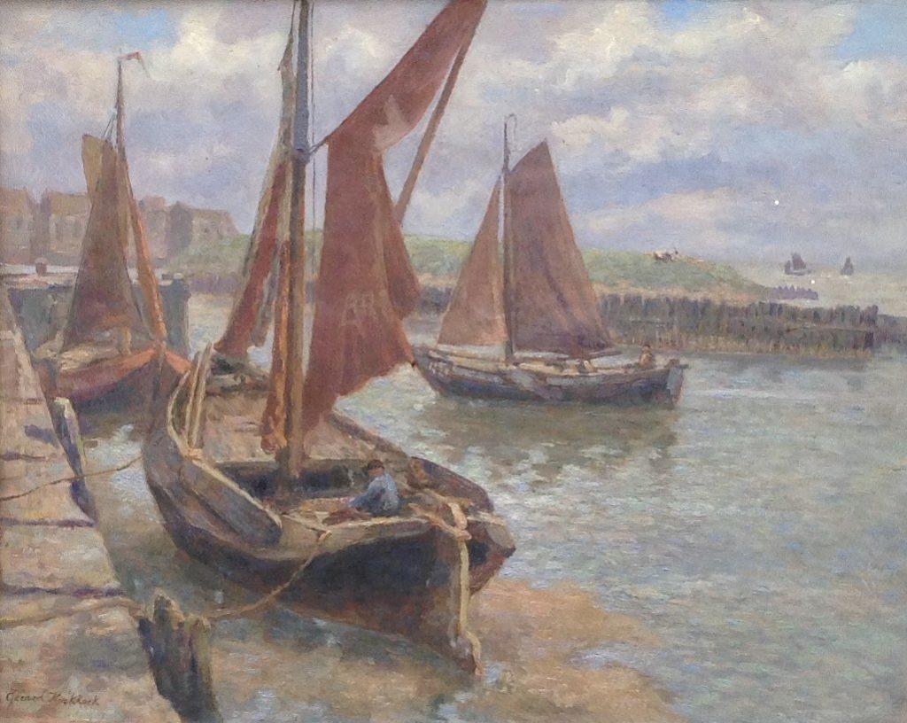 Kunstenaar Gerard Koekkoek B9644, Gerard Koekkoek 'Bootjes in de haven' Olie op doek Linksonder gesigneerd Verkocht