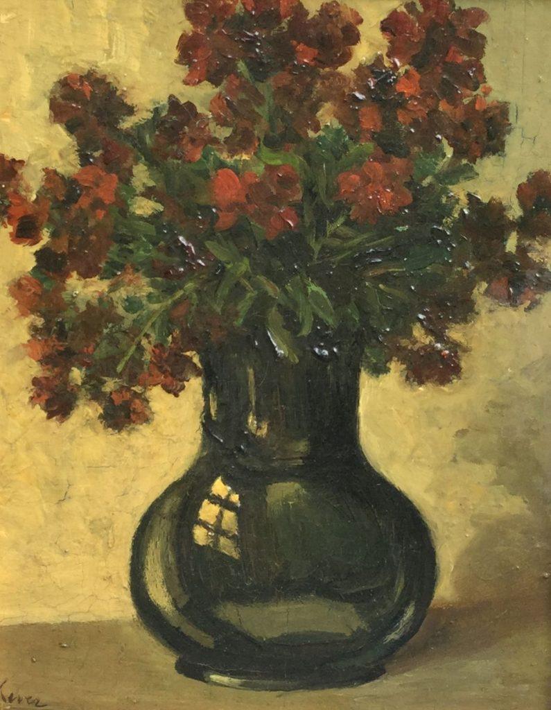 Kunstenaar J.S.H. Kever B9645 Hein Kever Bloemstilleven, zwarte vaas met rode bloemen marouflé, doek op paneel, paneelmaat, 39 x 31 cm linksonder gesigneerd