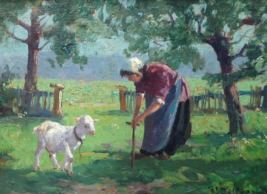 Schilderijen te koop van kunstschilder G.J. Delfgaauw Boerin met geitje in de weide gesigneerd, Expositie Galerie Wijdemeren Breukeleveen