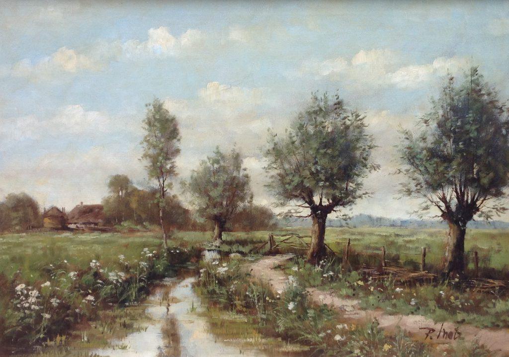 Schilderijen te koop van kunstschilder Peter Motz Landschap met boerderijtje Olie op doek rechtsonder gesigneerd, Expositie Galerie Wijdemeren Breukeleveen