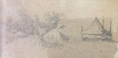 schilderijen te koop van kunstschilder, P.J.C. Gabriël Schetsje van een hooischuur, expositie, galerie wijdemeren breukeleveen