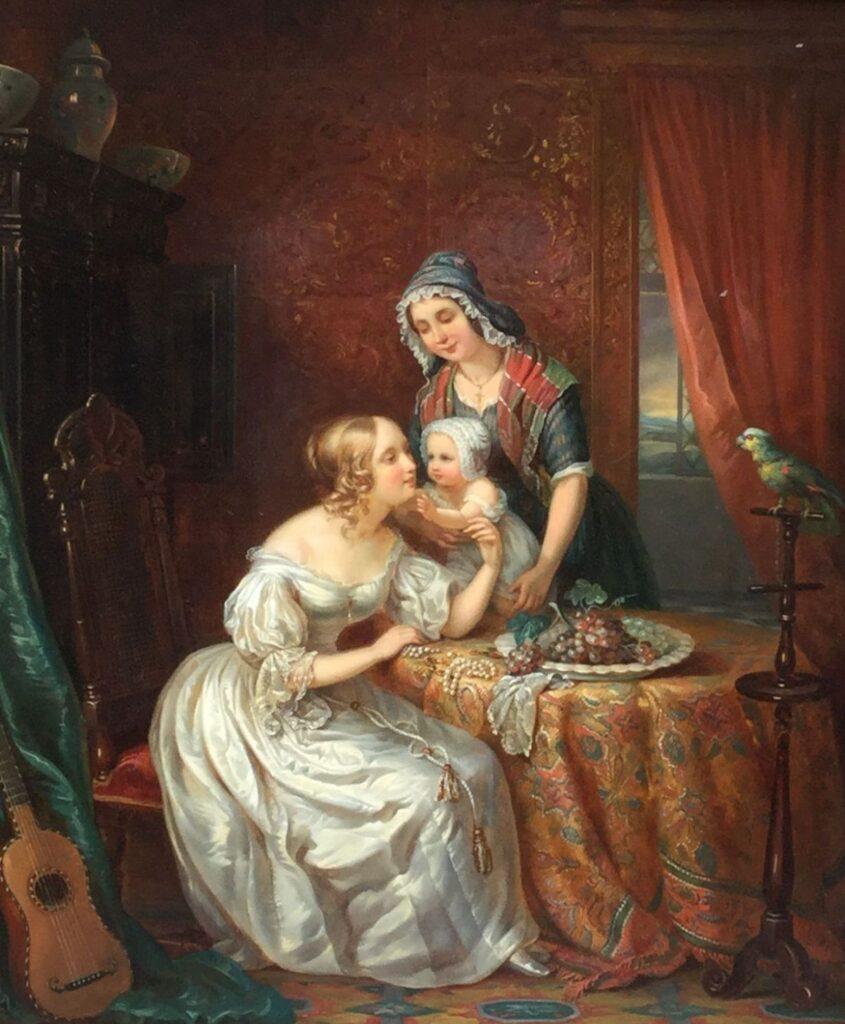 Kunstenaar Adrien Wulfaert B9726, Adrianus Wulffaert Jonge moeder met kind olie op paneel, 51,5 x 43,5 cm r.o. gesigneerd