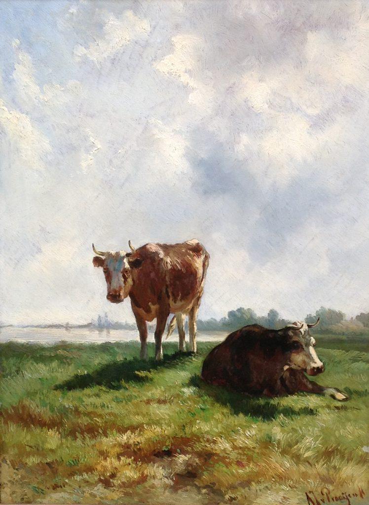 Kunstenaar A.J. van Prooijen B9733, AJ van Prooijen koeien in een boerenlandschap olie op paneel, 47 x 34 cm verkocht