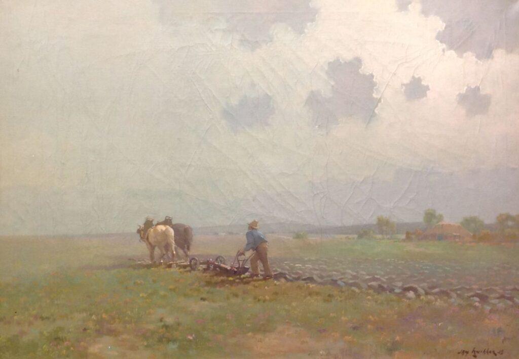 Kunstenaar Jan S. Knikker jr. B9793, Jan Knikker Jr. 'Ploegende boer' Beeldmaat: 50 cm x 70 cm Rechtsonder gesigneerd