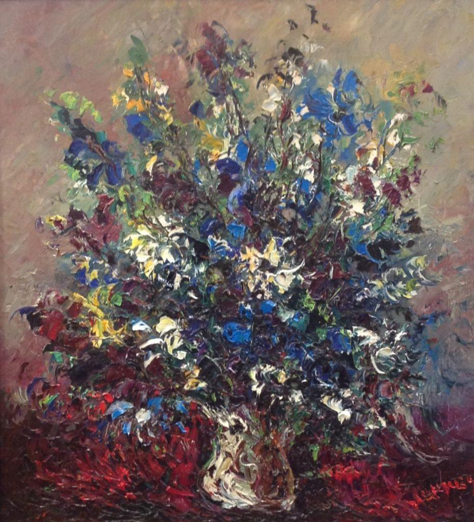 Schilderijen te koop van kunstschilder Jan Makkes Bloemstilleven gesigneerd, Expositie Galerie Wijdemeren Breukeleveen