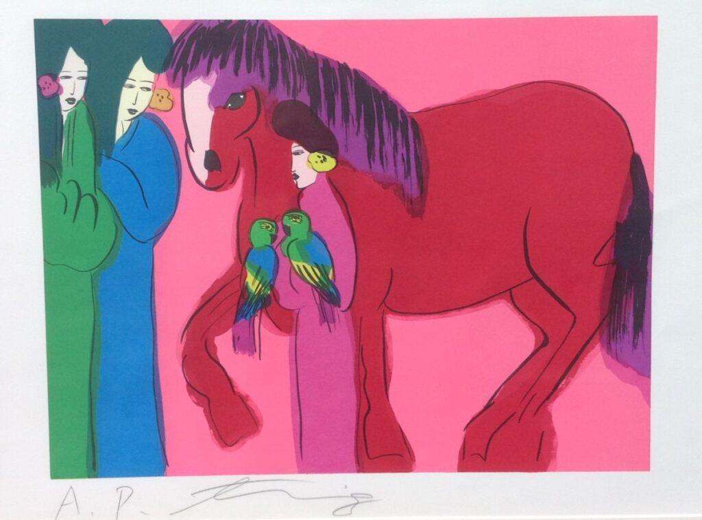 Kunstenaar Walasse Ting B9384, Walasse Ting, litho l.o. gesigneerd, oplage 200