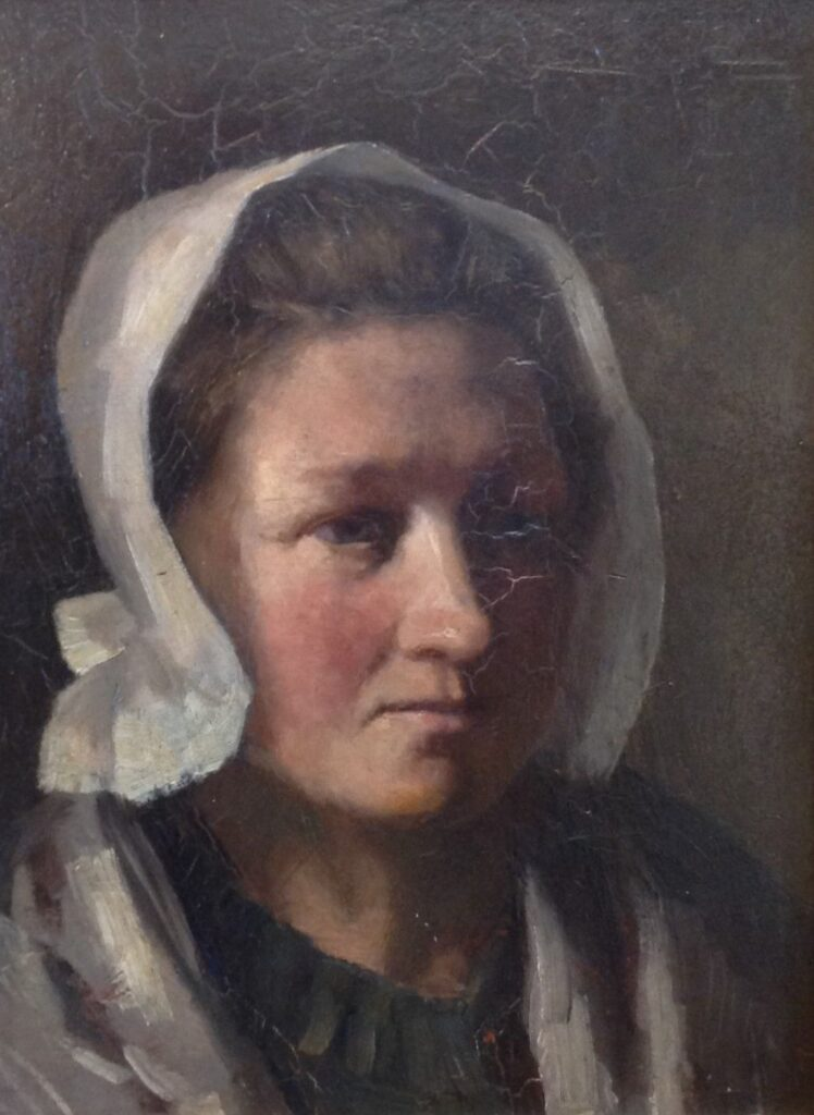 Kunstenaar Martin van Waning B9919, Martin van Waning Portret olie op paneel, 38 x 28,5 cm particuliere collectie