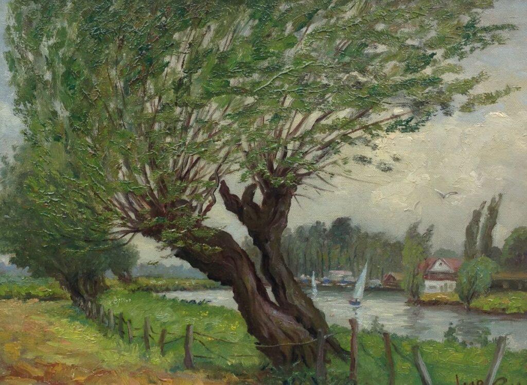 Kunstenaar Jacob de Ruig B9939, Jacob de Ruig Knotwilgen langs de vaart olie op doek, r.o. gesigneerd