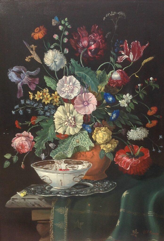 Kunstenaar Rudolf H. Oldeman B9949 Rudolph H. Oldeman Bloemstilleven olie op doek, 90 x 120 cm r.o. gesigneerd verkocht
