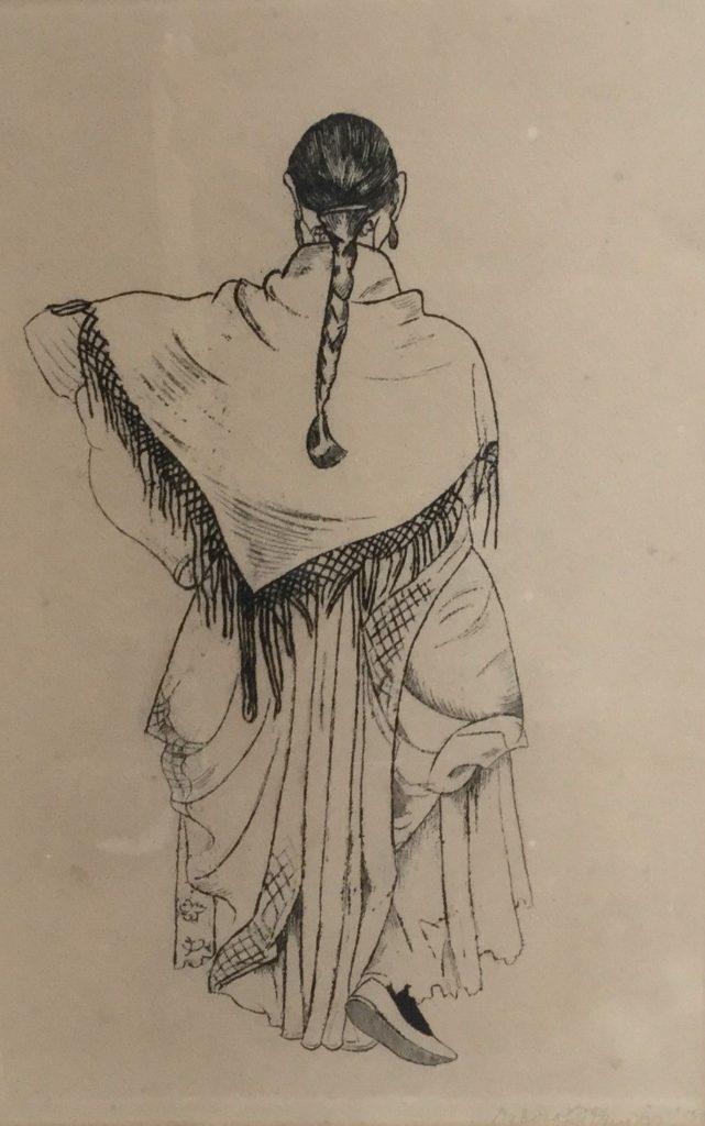 Schilderijen te koop, kunstschilder Debora G Duyvis In doeken geklede figuur ets, beeldmaat 31 x 20.5 cm rechtsonder gesigneerd en gedateerd 38, expositie Galerie Wijdemeren Breukeleveen