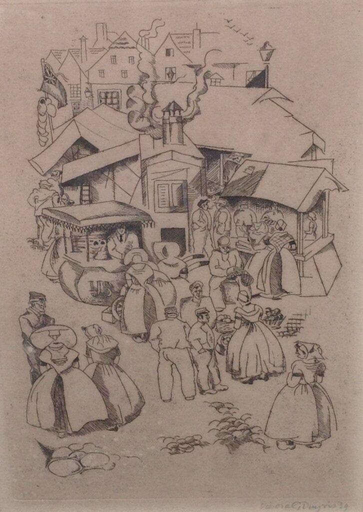 Schilderijen te koop, kunstschilder, Debora G. Duyvis Markt in zeeland ets, beeldmaat 25.5 x 17.5 cm rechtsonder gesigneerd en gedateerd '39, expositie Galerie Wijdemeren Breukeleveen