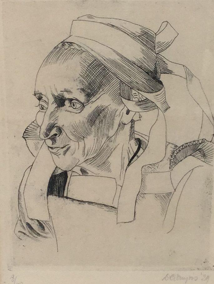 Schilderijen te koop van kunstschilder D.G. Duyvis Bretonse vrouw (verso titel) drogenaald ets, beeldmaat 18 x 13 cm oplage 8/40, rechtsonder gesigneerd en gedateerd 1929, Expositie Galerie Wijdemeren Breukeleveen