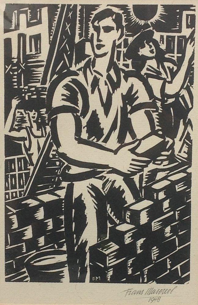 Schilderijen te koop, kunstschilder Frans Masereel De Metselaar houtsnede, beeldmaat 21,5 x 14,5 cm rechtsonder gesigneerd en gedateerd 1948, expositie Galerie Wijdemeren Breukeleveen