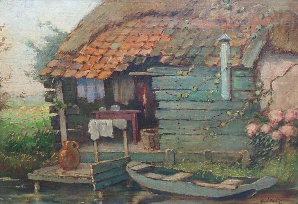 Schilderijen te koop, kunstschilderArend van de Pol Huis aan de vaart olie op doek, doekmaat 29 x 39 cm rechtsonder gesigneerd, expositie Galerie Wijdemeren Breukeleveen