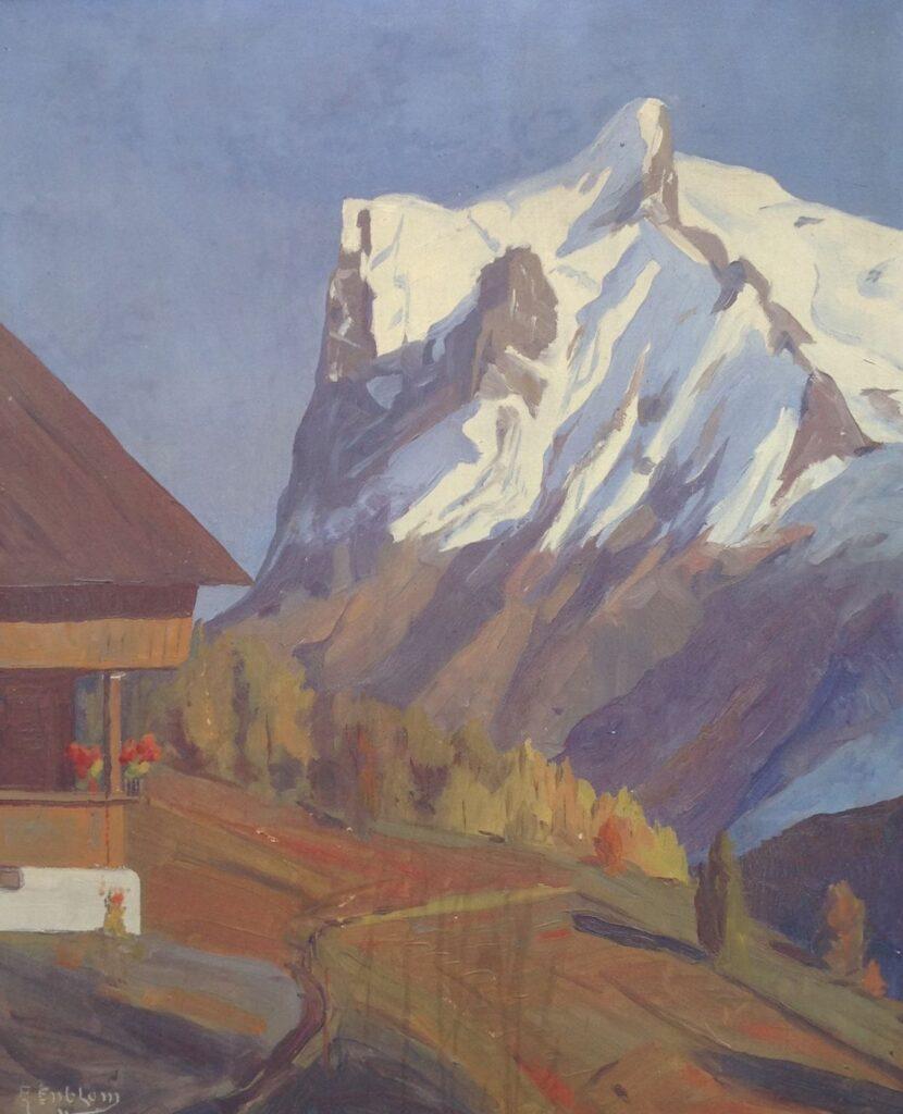 Kunstenaar E Enblom B9969, E. Enblom 'Berglandschap' Olie op board Beeldmaat: 70 cm x 57 cm Linksonder gesigneerd particuliere collectie