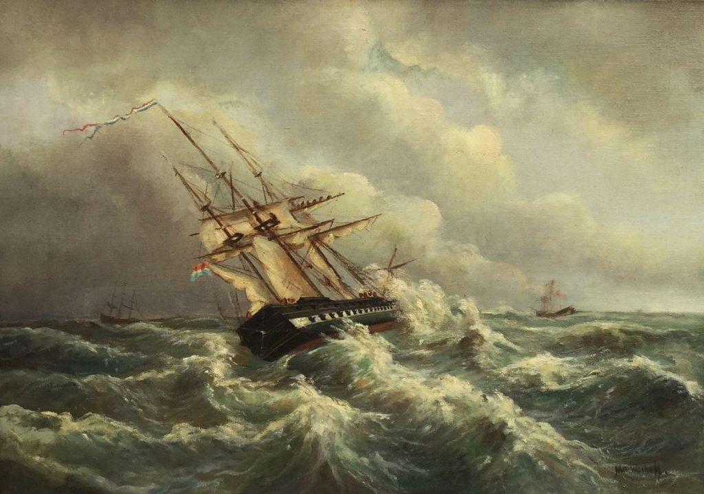 Schilderijen te koop Schip op woeste zee olie op doek, doekmaat 50 x 71 cm rechtsonder gesigneerd, Expositie Galerie Wijdemeren Breukeleveen