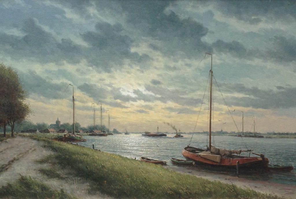 Schilderijen te koop van kunstschilder HJ Wijngaard olie op doek, 60 x 90 cm rechtsonder gesigneerd, Expositie Galerie Wijdemeren Breukeleveen