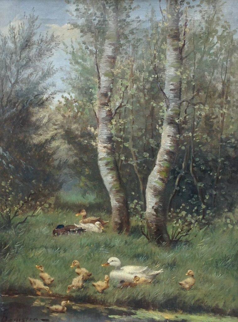 Schilderijen te koop van kunstschilder J. Damstra Eendjes olie op doek, doekmaat 40 x 30,5 cm linksonder gesigneerd, Expositie Galerie Wijdemeren Breukeleveen