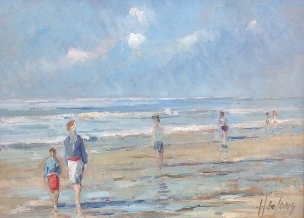 Kunstenaar H. de Jong B9999, H. de Jong 'Strandgezicht, Heemstede' olie op paneel, 30 x 40 cm r.o. gesigneerd