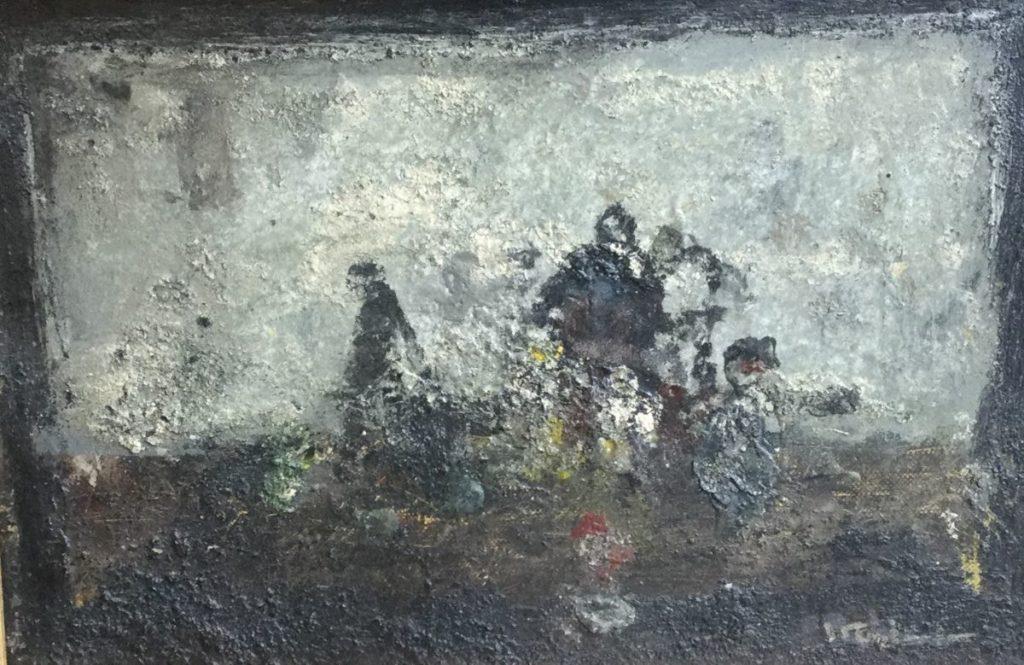 Schilderijen te koop, kunstschilder Jan Rijlaarsdam figuren olie op board, boardmaat 21 x 32 cm gesigneerd rechtsonder, expositie Galerie Wijdemeren Breukeleveen