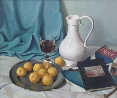 schilderijen te koop van kunstschilder, Henk bos Stilleven met witte kan olie op paneel, doekmaat 50 x 60 cm linksonder gesigneerd, expositie, galerie wijdemeren breukeleveen