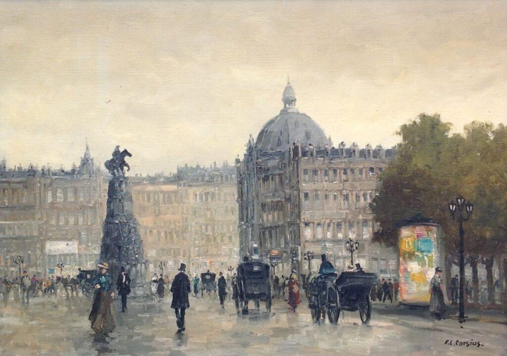 Schilderijen te koop, kunstschilder F.L. Corsius Parijs Olie op doek Beeldmaat: 50 x 70 cm, Expositie Galerie Wijdemeren Breukeleveen