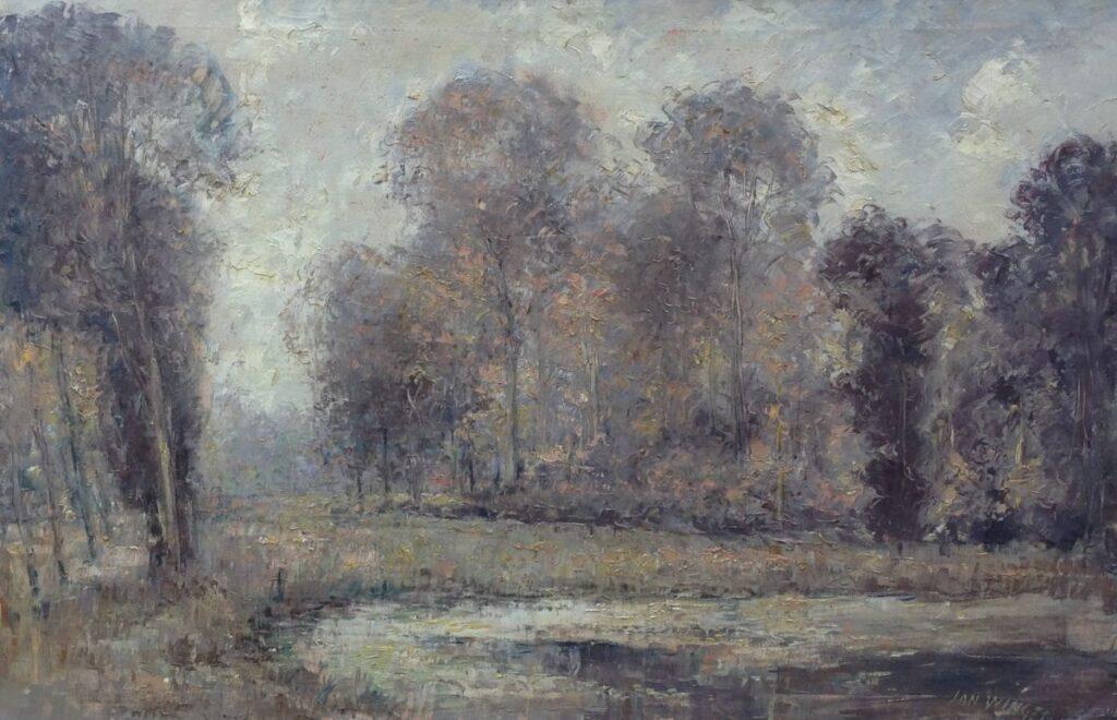 Kunstenaar Jan Wingen C1078, Jan Wingen, Herfst in het bos olieverf op doek, 60 x 91 cm, r.o. gesigneerd