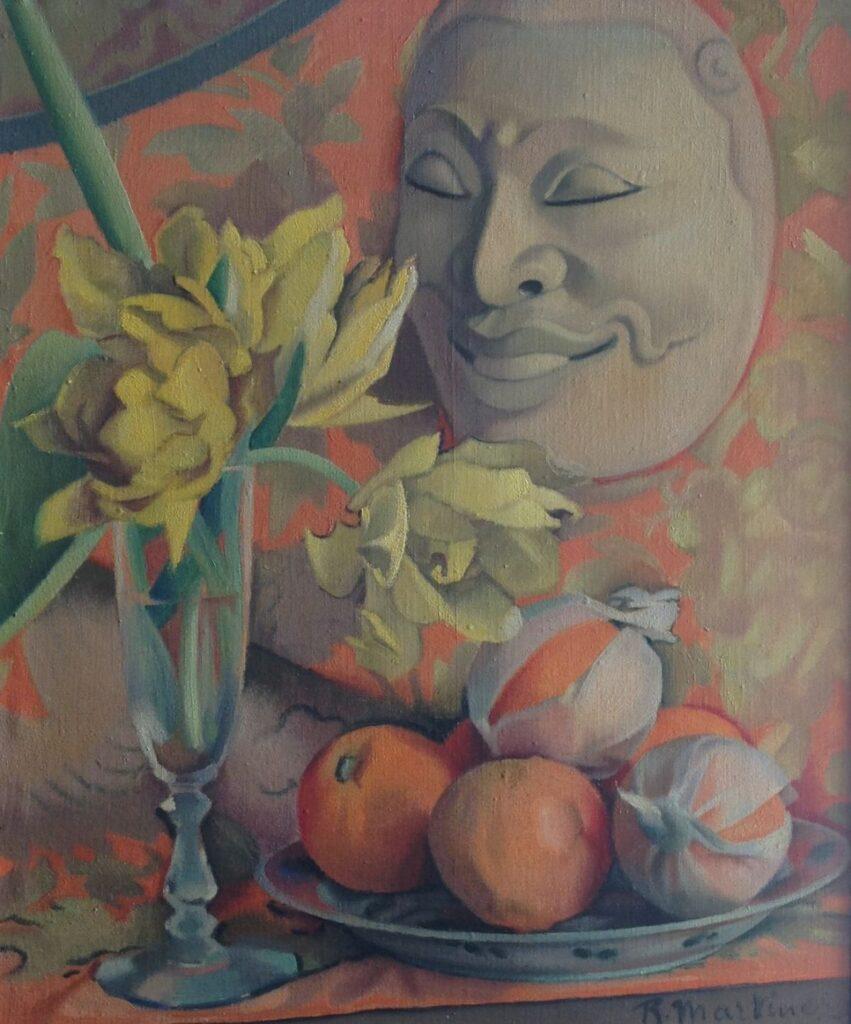 Kunstenaar Raoul Martinez C1084-1, Raoul Martinez Stilleven met masker olie op doek, 55 x 46,5 cm r.o. gesigneerd  verkocht