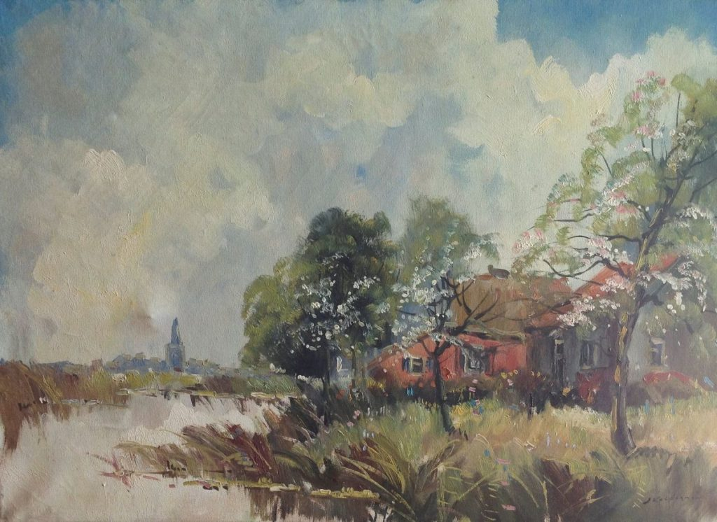 Kunst te koop bij Galerie Wijdemeren van kunstschilder Jan Kelderman Zomer aan de boerderij olie op doek, 50 x 71 cm gesigneerd rechtsonder