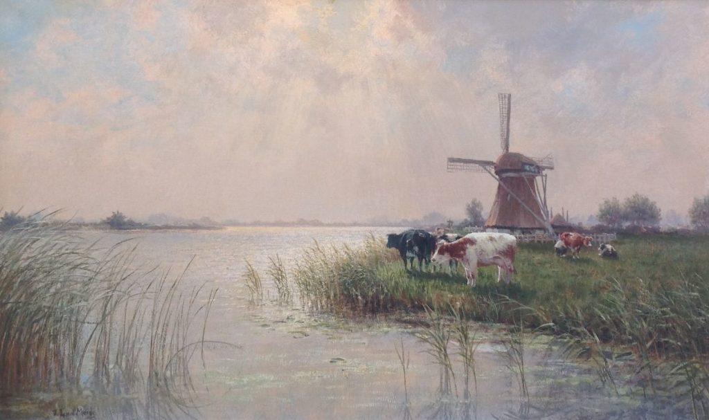Schilderijen te koop van kunstschilder JL van der Meide Polderlandschap met koeien en molen Olie op doek, gesigneerd linksonder, Expositie Galerie Wijdemeren Breukeleveen