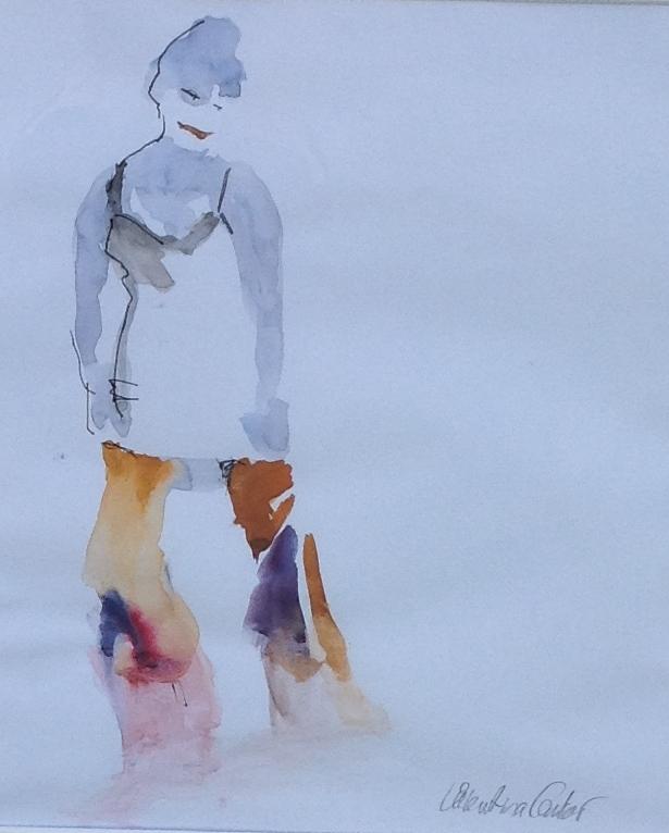 schilderijen te koop van kunstschilder, Valentina Cantor Bell Bottom Jeans aquarel, beeldmaat 31 x 25 cm rechtsonder gesigneerd, expositie, galerie wijdemeren breukeleveen