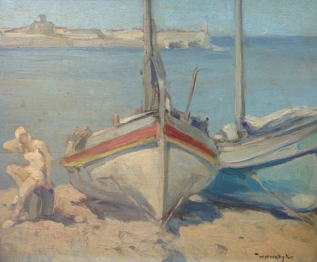 Kunstenaar Willem Noordijk C1192, Willem Noordijk, Bootjes op de kade olie op paneel, 22 x 27 cm, r.o. gesigneerd verkocht